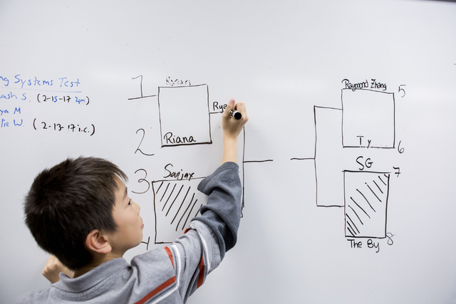 Raymond Zhang, 11, a member of MathCounts at Hyde Park Middle School,  writes his name while the team practices math drills in preparation for southern Nevada MathCounts  state competition, Hyde P ...