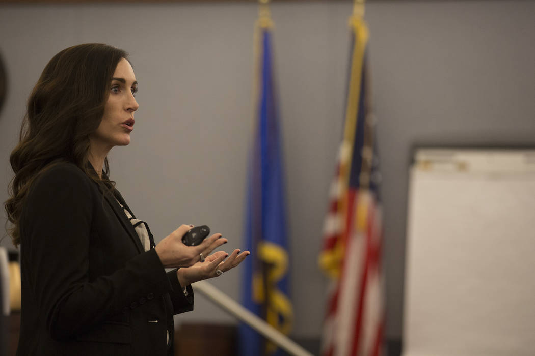 Prosecutor Jacqueline Bluth gives an opening statement to jurors at the Regional Justice Center on Monday, March 6, 2017, in Las Vegas. (Bridget Bennett/Las Vegas Review-Journal) @bridgetkbennett