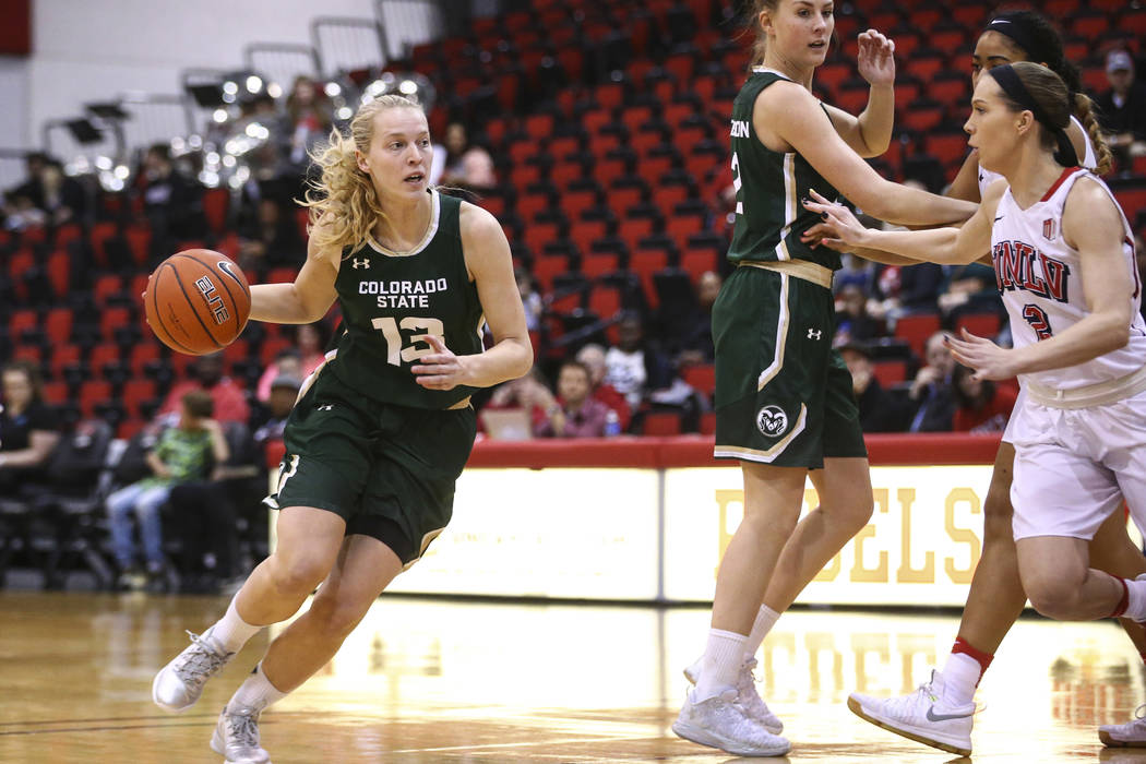 Colorado State guard Ellen Nystrom (13) drives against UNLV during a basketball game at Cox Pavilion in Las Vegas on Thursday, Dec. 29, 2016. (Chase Stevens/Las Vegas Review-Journal) @csstevensphoto