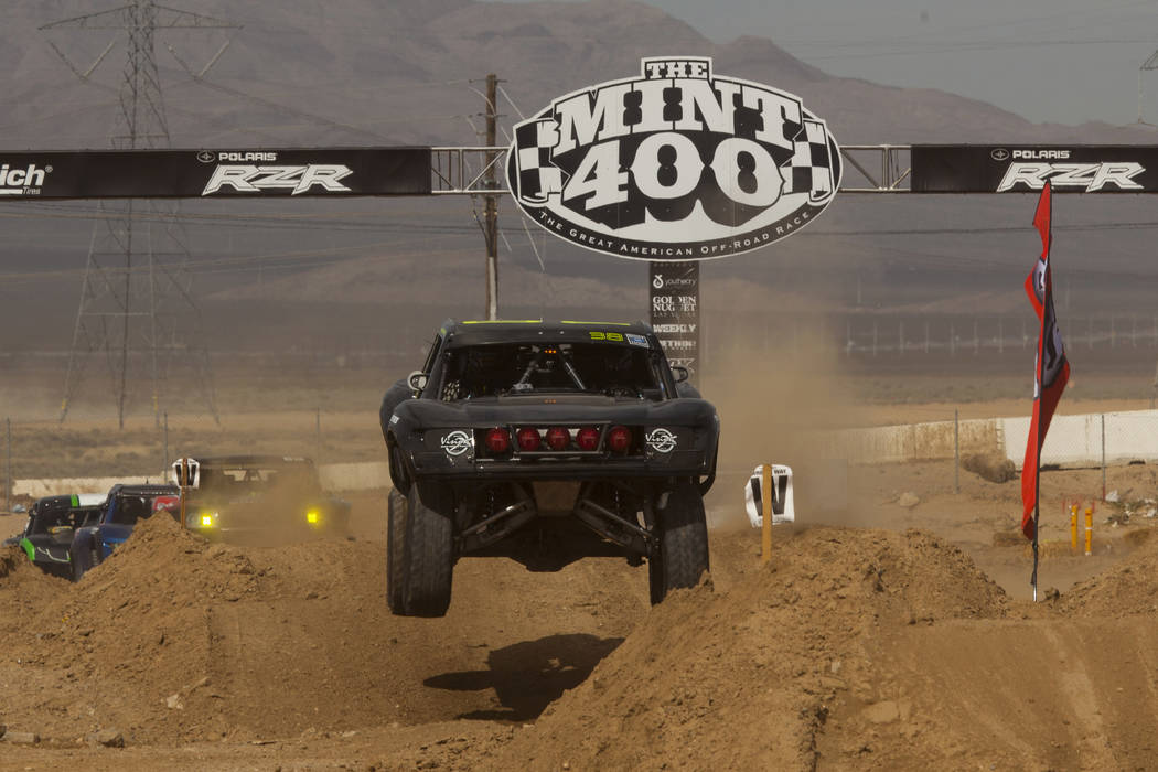A race truck catches some air during the Mint 400 just east of the state line near Primm, Nev., on Saturday, March 4, 2017. Miranda Alam/Las Vegas Review-Journal Follow @miranda_alam | Las