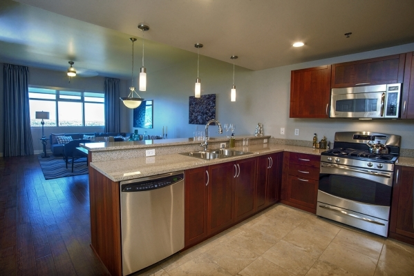 DOWNTOWN LAS VEGAS  The Ogden high-rise in downtown Las Vegas offers the Ferron plan for $264,900. It measures 963 square feet and has one bedroom and 1.5 bath. COURTESY PHOTO
