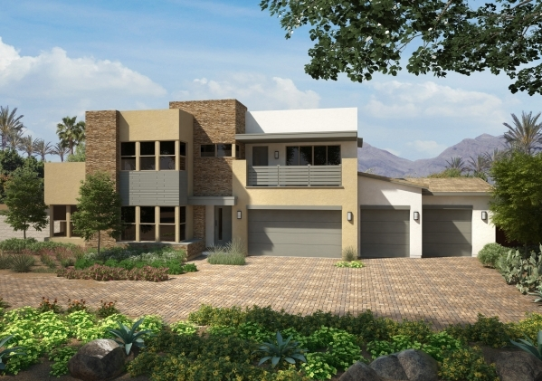 An interest list is open for Meridian by Pardee Homes in southwest Las Vegas, featuring desert contemporary homes including Plan 2-XC, shown here as an artist's rendering. PROMOTIONAL PHOTO