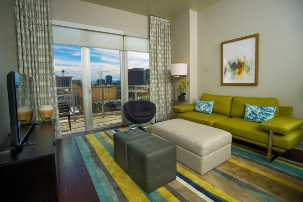 The Baker model at The Ogden in downtown Las Vegas features two bedrooms and two bedrooms encompassed in 1,246 square feet. It is priced at $389,900. PROMOTIONAL PHOTO