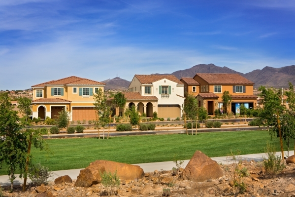 Pardee Homes offers three neighborhoods in Inspirada, a Henderson master-planned community. They are Alterra, Bella Verdi and Solano. Shown are the model homes at Bella Verdi with Potenza Park in  ...