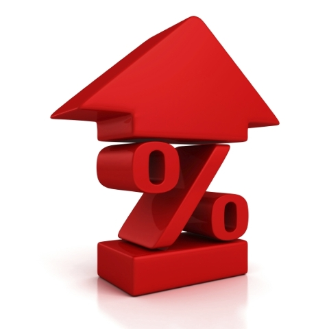 shiny red percent symbol with growing up arrow