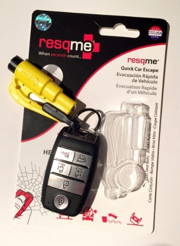 With the resqme tool, drivers can be confident that they will be able to cut through seat belts and break car windows in various auto accident situations. COURTESY