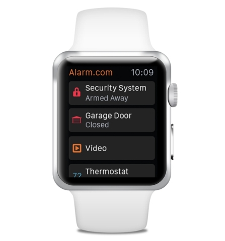 An Apple watch can remotely arm and disarm the security systems in a smart home through an Alarm.com app. COURTESY