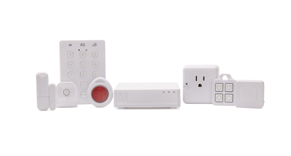 A gallery of products from Iris by Lowe's smart home system. From left to right, window contact switch, motion sensor, pushbutton keypad, medical alert pendant ,electronics hub, smart relay  ...