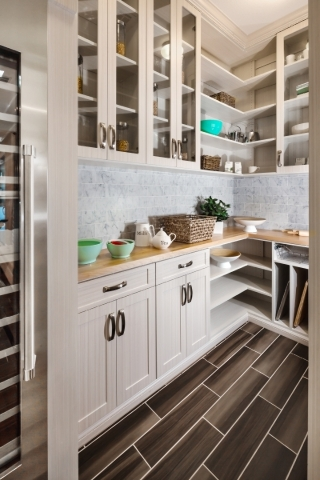 Toll Brothers offers wood as the standard shelving system material, however, it offers buyers the opportunity to meet with a custom closet company that can help them design their own pantry. COURTESY