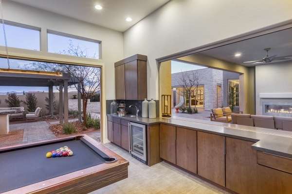 A Pardee game room shows how many homebuilders are incorporating these spaces with outdoor areas. COURTESY