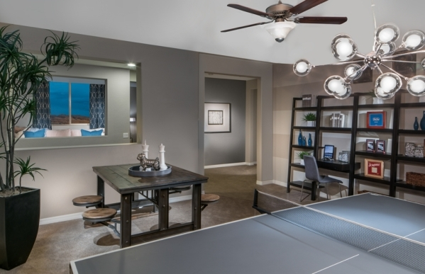 A Pulte game room shows how some areas are blocked out for different activities. COURTESY