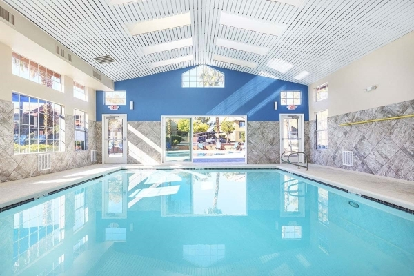 Silver Shadow, a 200-unit apartment building on West Charleston Boulevard, has a an indoor pool. COURTESY