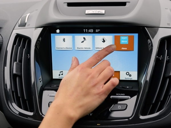 The Amazon Alexa voice control interface is accessible from a button on the dashboard console of the Ford Sync in-car technology system. COURTESY FORD MOTOR CO.