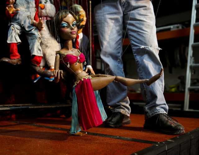 A belly dancing marionette modeled after Angelina Jolie at Team Land Productions in Las Vegas on Wednesday, Feb. 1, 2017. (Miranda Alam/Las Vegas Review-Journal) @miranda_alam