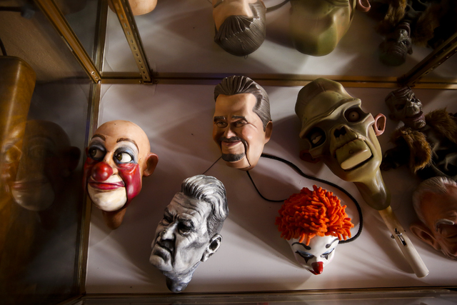 Various marionette heads sit in a glass case at Team Land Productions in Las Vegas on Wednesday, Feb. 1, 2017. (Miranda Alam/Las Vegas Review-Journal) @miranda_alam