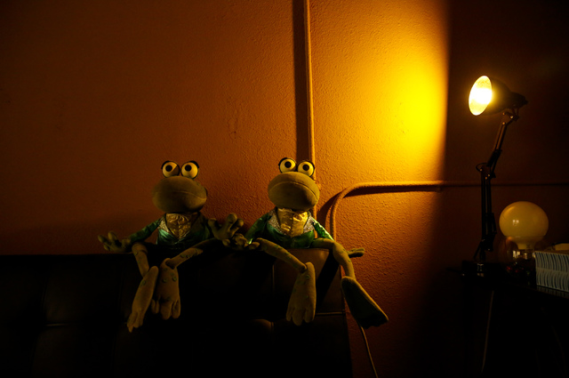 Two frog puppets sit on a couch at Team Land Productions in Las Vegas on Wednesday, Feb. 1, 2017. (Miranda Alam/Las Vegas Review-Journal) @miranda_alam