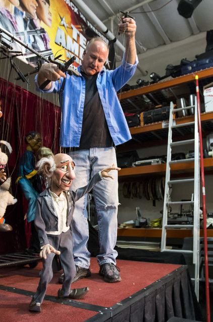 Scott Land, master puppeteer and owner of Team Land Productions manipulates a marionette at his company's warehouse in Las Vegas on Wednesday, Feb. 1, 2017. (Miranda Alam/Las Vegas Review-Journal) ...