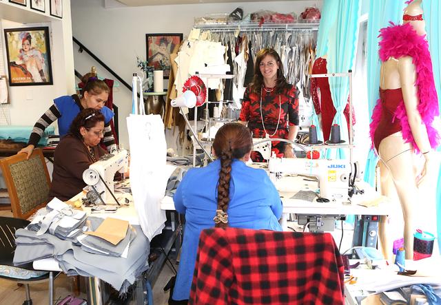 Catharine Trifiletti, far right, a uniform designer, with her workers in  her design studio on 618 Las Vegas Blvd. South on Friday, Feb. 12, 2017, in Las Vegas. (Bizuayehu Tesfaye/Las Vegas Review ...