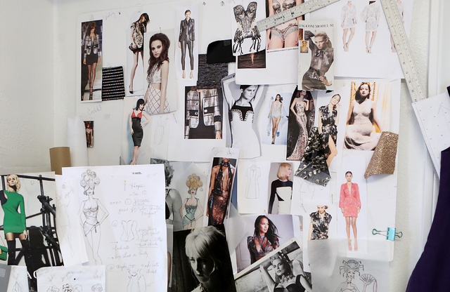 Catharine Trifiletti, a uniform designer, not photographed, pins the inspiration for her collection on her design studio wall on 618 Las Vegas Blvd. South on Friday, Feb. 12, 2017, in Las Vegas. ( ...