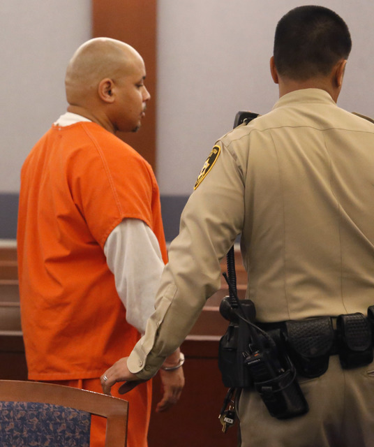 Defendant Norman Flowers is escorted out of courtroom room after a preliminary hearing at the Regional Justice Center on Friday, Feb. 17, 2017, in Las Vegas. (Christian K. Lee/Las Vegas Review-Jou ...