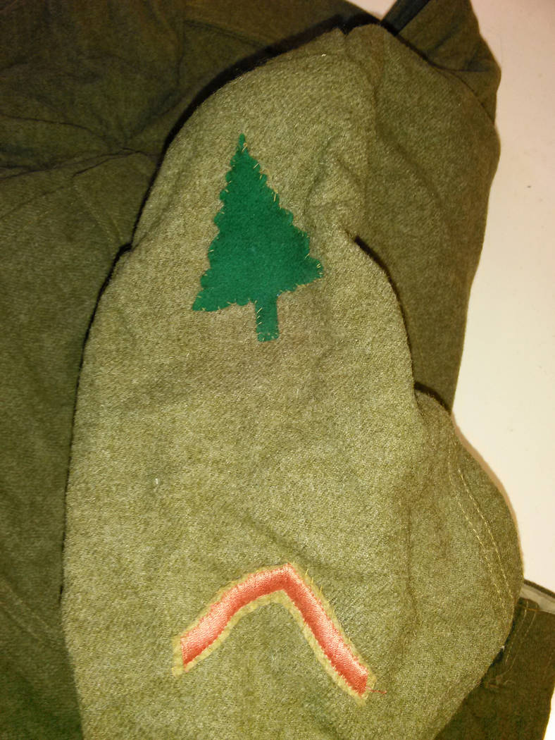 Uniform that probably belonged to a member of Company F of the 316th Engineers, shows the evergreen tree patch of the 91st Division. David Blase actionmilitarysurplus@gmail.com