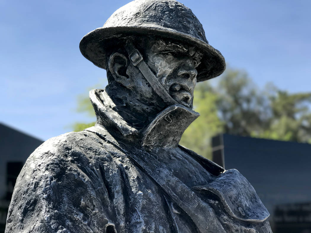 The doughboy statue at Nevada State Veterans Memorial in Las Vegas stands as a reminder of those who served in World War I. President Woodrow Wilson asked Congress to declare war on Germany 100 ye ...