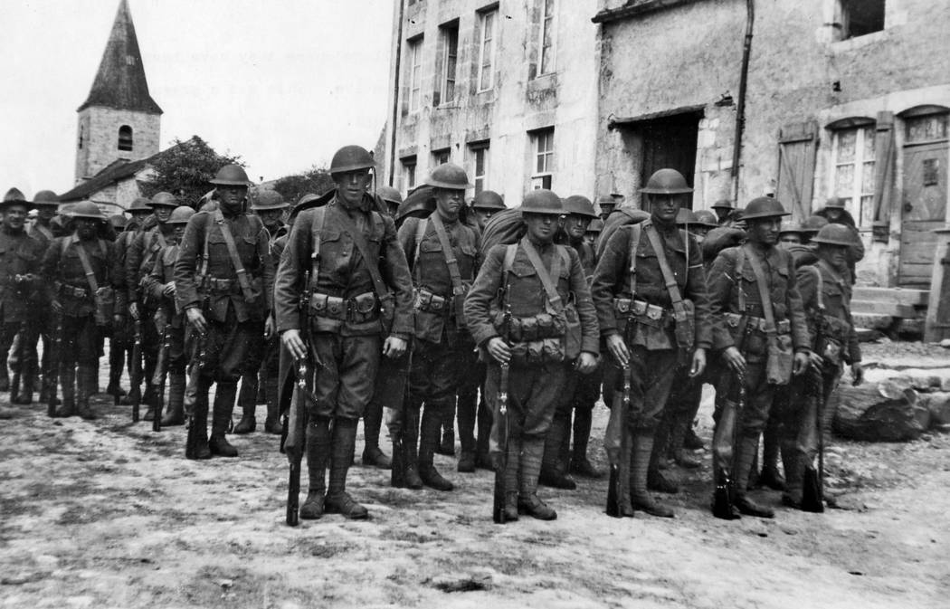 U.S. Army 91st Division troops leave unknown French Village where they had been billeted before heading to the front during the Argonne-Meuse offensive in 1918. Harry A. Williams/ Los Angeles Times