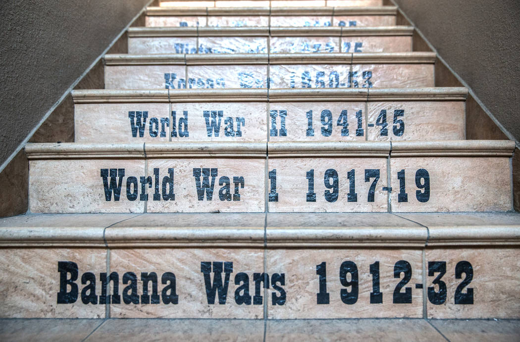 The back steps at the Leatherneck Club mark the dates of American wars on Wednesday, March 15, 2017, in Las Vegas. (Benjamin Hager/Las Vegas Review-Journal) @benjaminhphoto