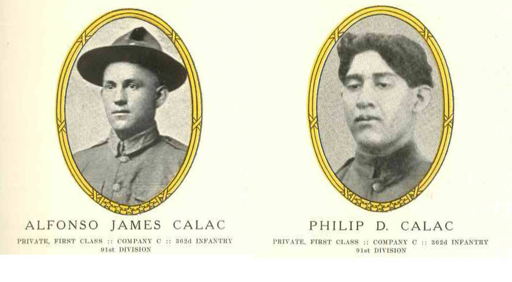 Army service photos of cousins Alfonso Calac, left, and Philip Calac, members of the Rincon Band of Mission Indians who registered for the draft in Las Vegas in 1917, appear in Nevada's Golden Sta ...