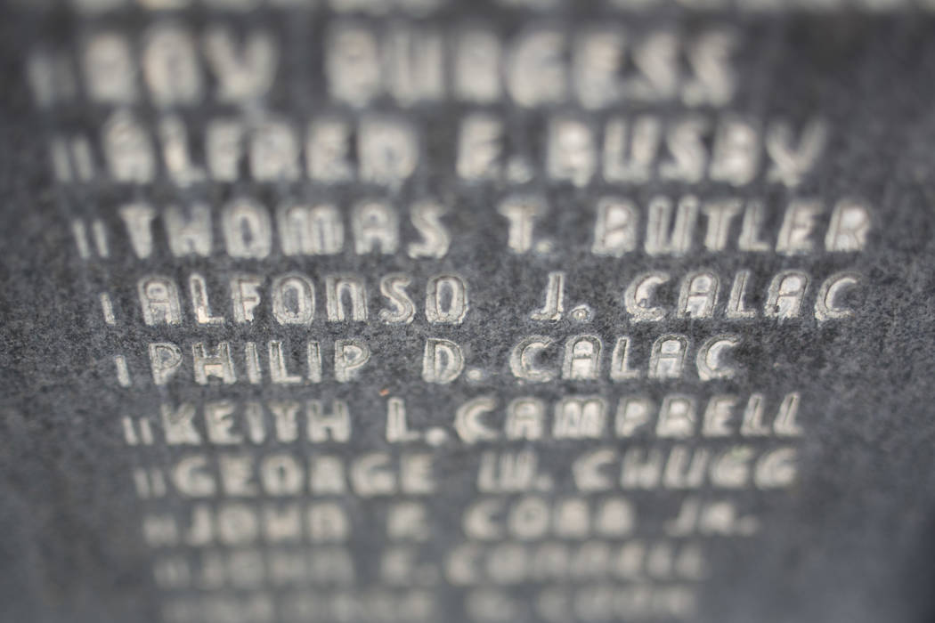 The names of Alfonso J. Calac and Philip D. Calac, who served in World War I, are etched into the Gold Star Mothers war memorial at the southwest corner of Las Vegas Boulevard and Bonanza Road in  ...