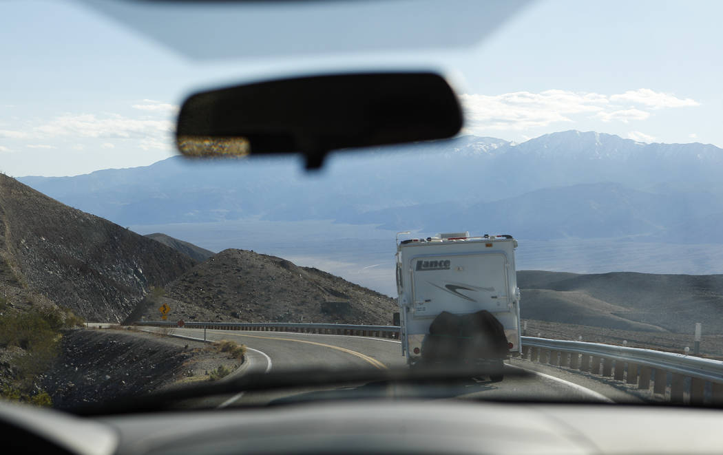 An RV drives along California State Route 190 in of Death Valley National Park on Tuesday, Feb. 28, 2017. (Chase Stevens/Las Vegas Review-Journal) @csstevensphoto