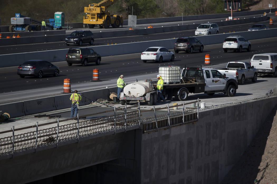 Construction crews at the McCarran Airport Connector construction project on Thursday, March 16, 2017, in Las Vegas. (Erik Verduzco/Las Vegas Review-Journal) @Erik_Verduzco