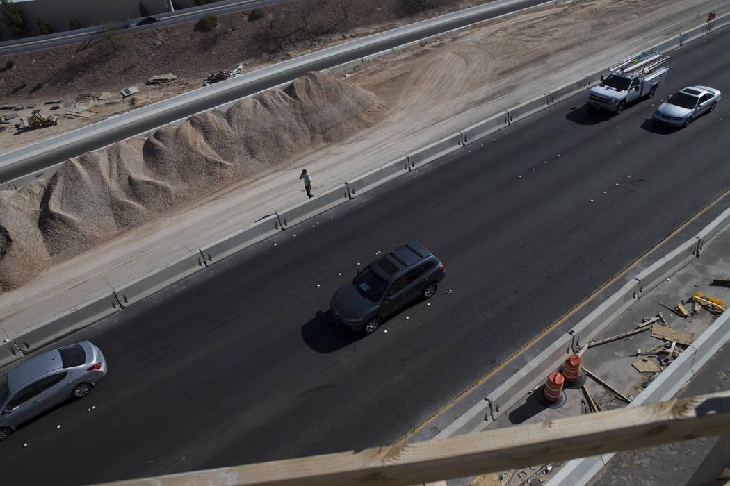 The 215 Beltway from the McCarran Airport Connector construction project on Thursday, March 16, 2017, in Las Vegas. (Erik Verduzco/Las Vegas Review-Journal) @Erik_Verduzco