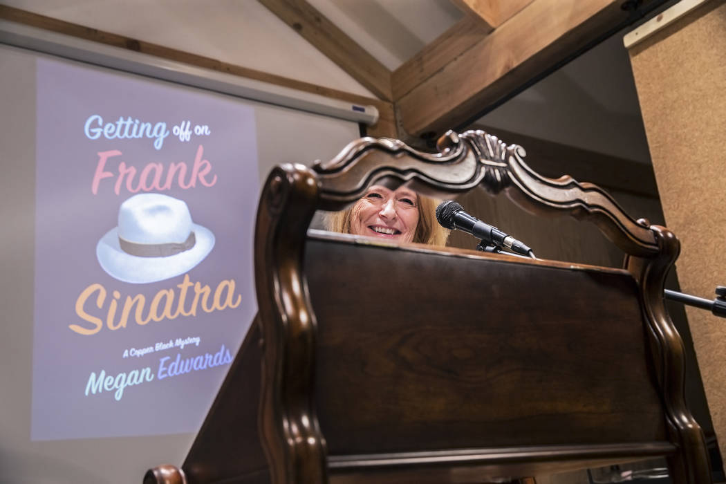 """Megan Edwards reads from her book """"Getting Off on Frank Sinatra,"""" a mystery series set in Las Vegas featuring a young newspaper reporter, at Edwards' premiere party at The Writer ..."""