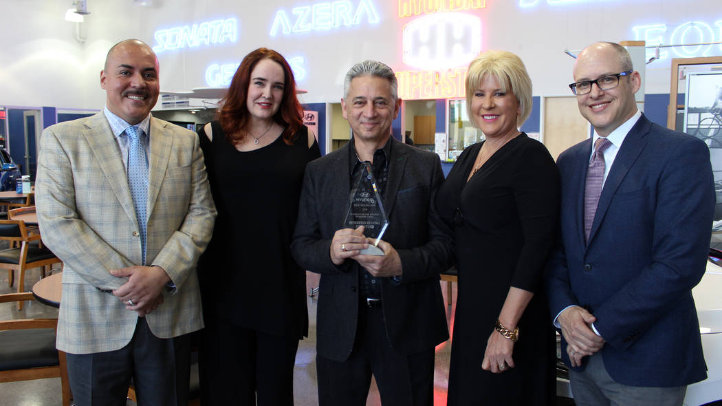COURTESY  From left to right are Carlos Hidalgo, general manager, Henderson Hyundai Superstore; Kimberly Walker HMA Western Region general manager; Frank Maione, owner/operator, Henderson Hyundai  ...