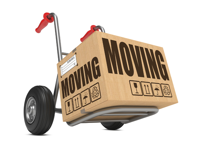 Moving - Cardboard Box on Hand Truck.