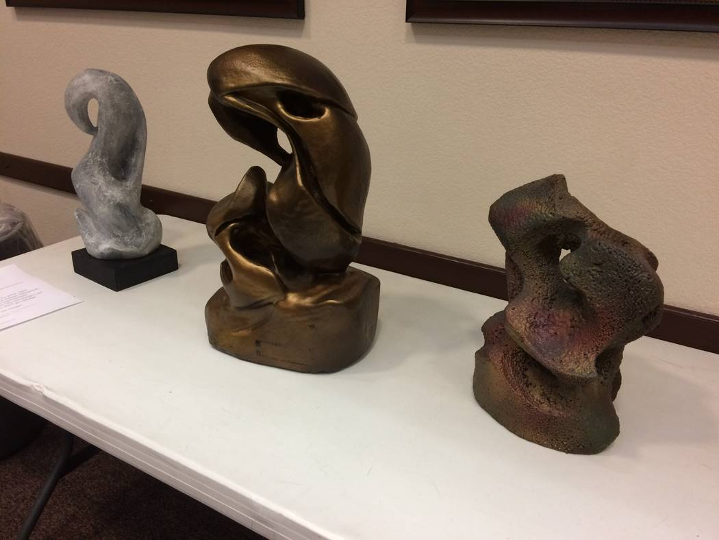 Three sculptures by Sam Chinkes are seen March 20, 2017, during an art club meeting at Desert Vista Community Center, 10360 Sun City Blvd.  Chinkes was giving a demonstration of sculpting with foa ...