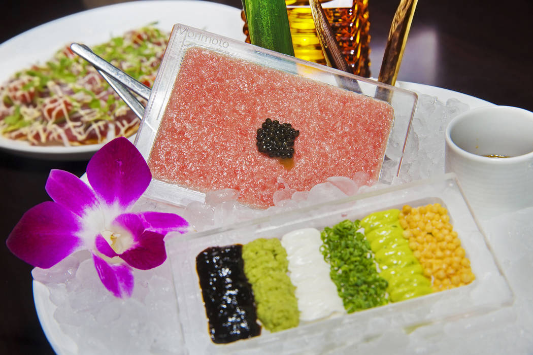 Toro Tartare, made with wasabi, nori paste, sour cream and sturgeon caviar at Morimoto on Thursday, March 23, 2017, at the MGM Grand hotel/casino, in Las Vegas. (Benjamin Hager/Las Vegas Review-Jo ...