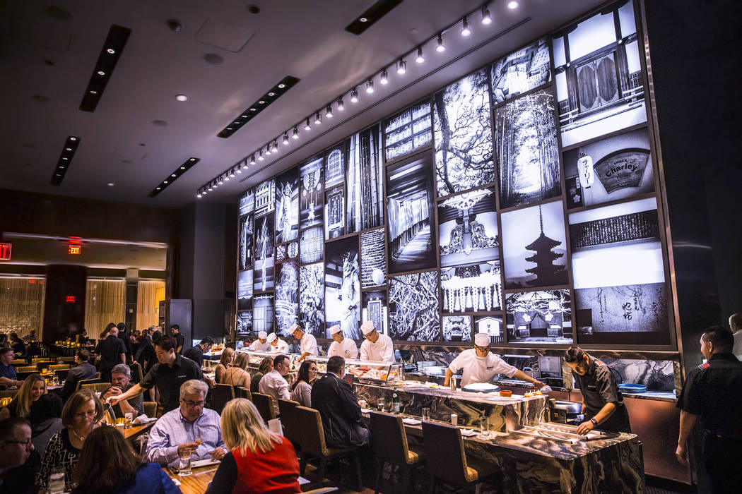 Guests are served in the main dinning room at Morimoto on Thursday, March 23, 2017, at the MGM Grand hotel/casino, in Las Vegas. (Benjamin Hager/Las Vegas Review-Journal) @benjaminhphoto