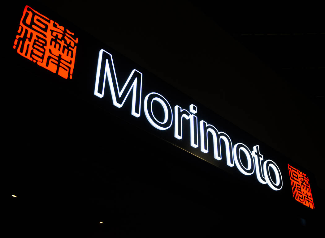 Signage at Morimoto on Thursday, March 23, 2017, at the MGM Grand hotel/casino, in Las Vegas. (Benjamin Hager/Las Vegas Review-Journal) @benjaminhphoto