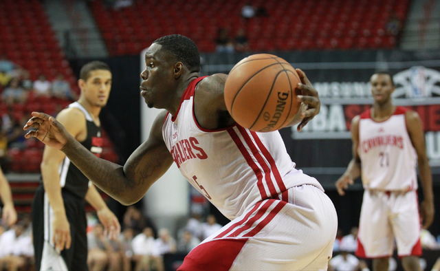 Cleveland's Anthony Bennett (15) drives the ball against Houston during an NBA Summer League game at the Thomas & Mack Center in Las Vegas on Thursday, July 17, 2014. (Chase Stevens/Las Vegas  ...