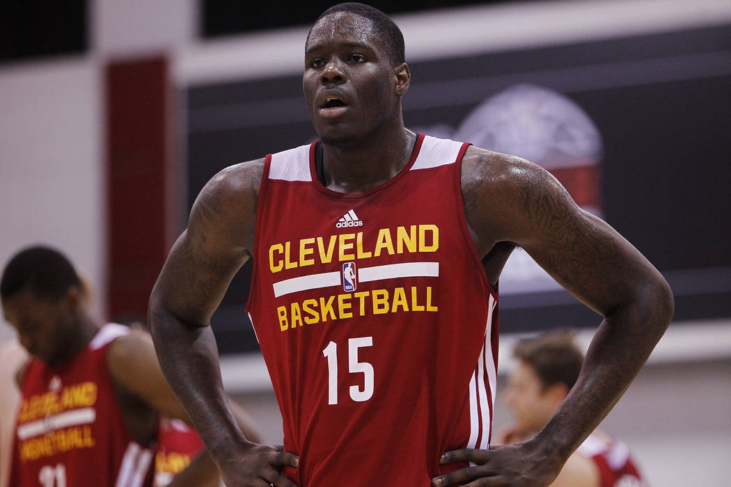 Cleveland's Anthony Bennett (15) catches his breath in between action while taking on Milwaukee during their NBA Summer League game at the Cox Pavilion in Las Vegas on Friday, July 11, 2014. (Jaso ...