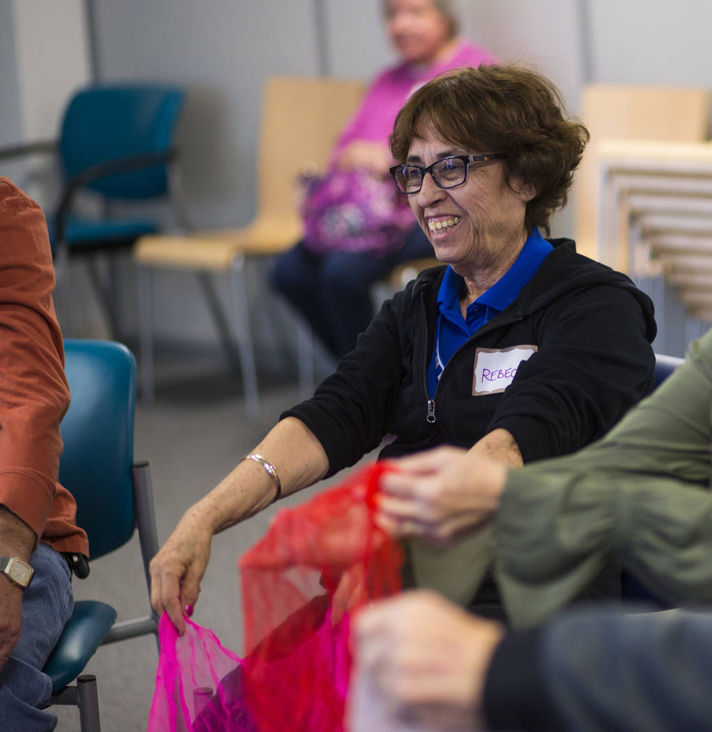 Rebecca participates in a group music therapy session for patients with memory and movement disorders at the Cleveland Clinic Lou Ruvo Center for Brain Health in Las Vegas on Wednesday, March 29,  ...