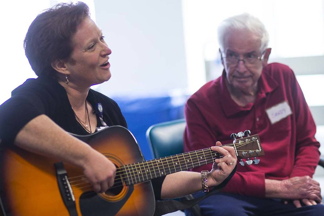 Music therapist Becky Wellman leads a session for patients with memory and movement disorders at the Cleveland Clinic Lou Ruvo Center for Brain Health in Las Vegas on Wednesday, March 29, 2017. (C ...