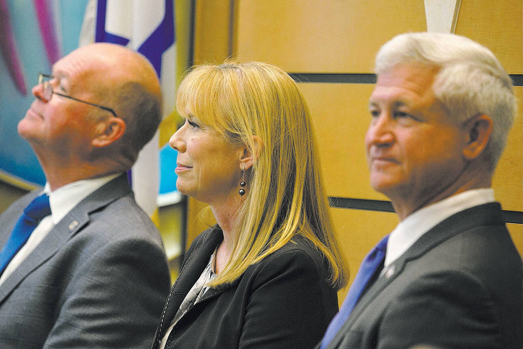 From left to right, councilman representing Ward 2 Bob Beers, candidate Christina Roush and candidate Steve Seroka sit prior to the debate at Temple Sinai Tuesday, March 14, 2017, in Las Vegas. Th ...