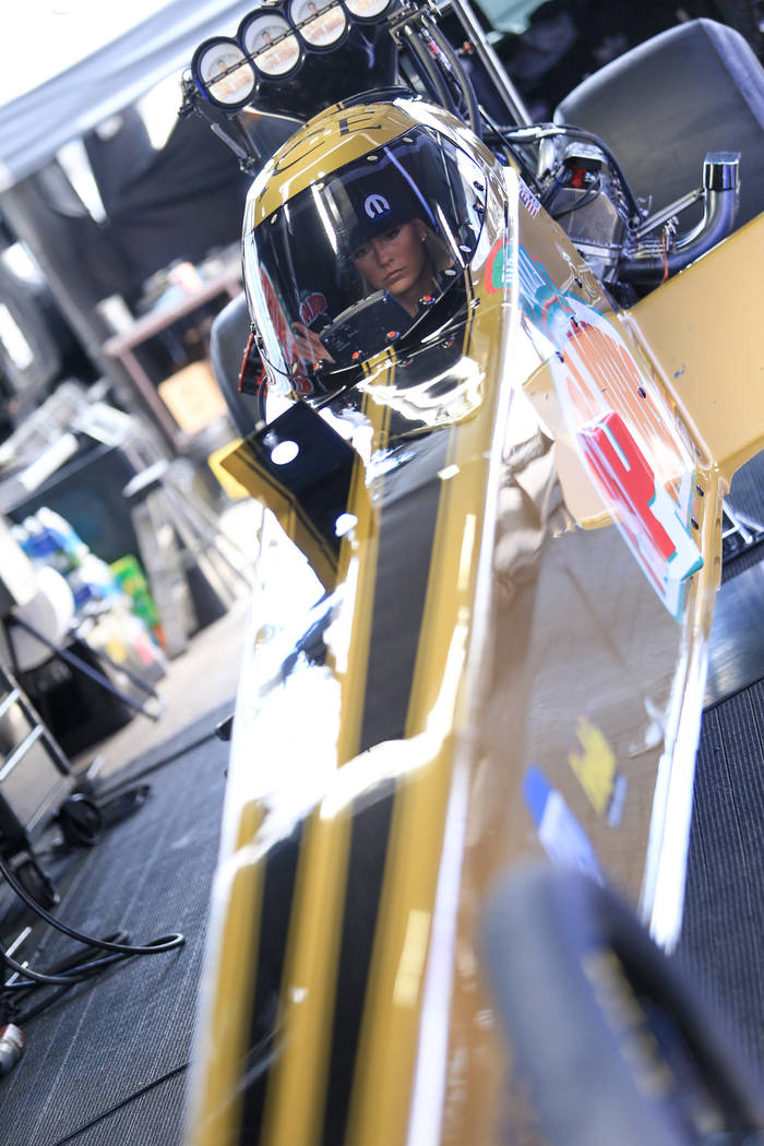 Top Fuel driver Leah Pritchett practices her starts before making a qualifying pass during the Denso Spark Plugs Nationals at The Strip at Las Vegas Motorspeedway in Las Vegas on Saturday, April 1 ...