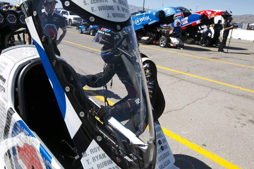 Top Fuel driver Antron Brown prepares to race at DENSO Spark Plugs NHRA Nationals at The Strip at Las Vegas Motor Speedway on Sunday, April 2, 2017, in Las Vegas. Brown was the Top Fuel campion at ...