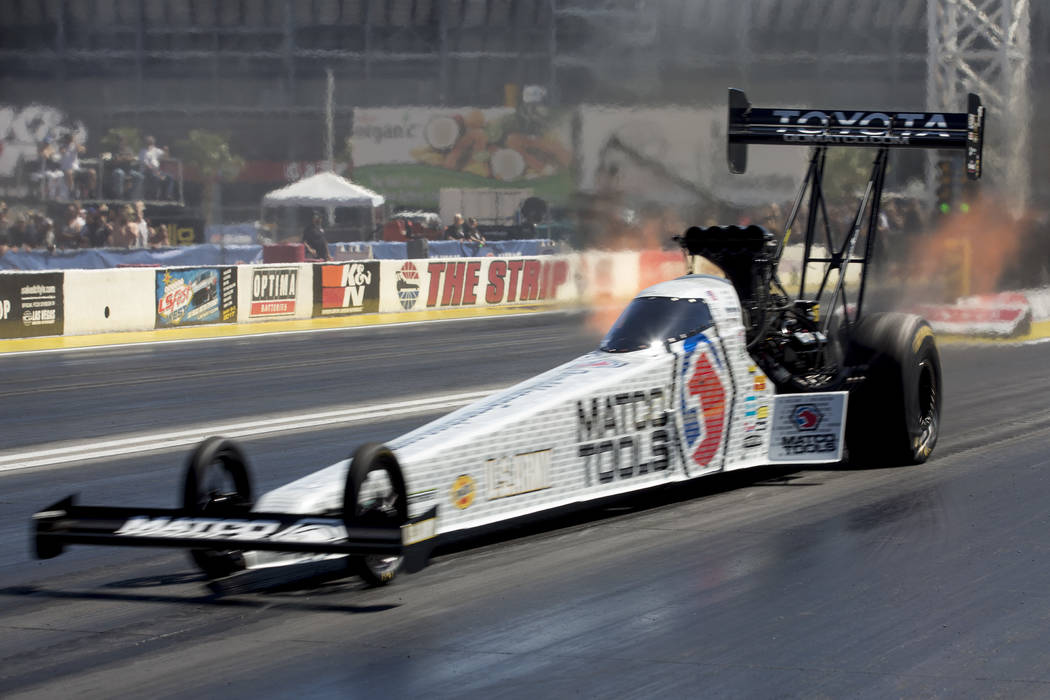 Top Fuel driver Antron Brown races at DENSO Spark Plugs NHRA Nationals at The Strip at Las Vegas Motor Speedway on Sunday, April 2, 2017, in Las Vegas. Brown was names the Top Fuel campion at DENS ...