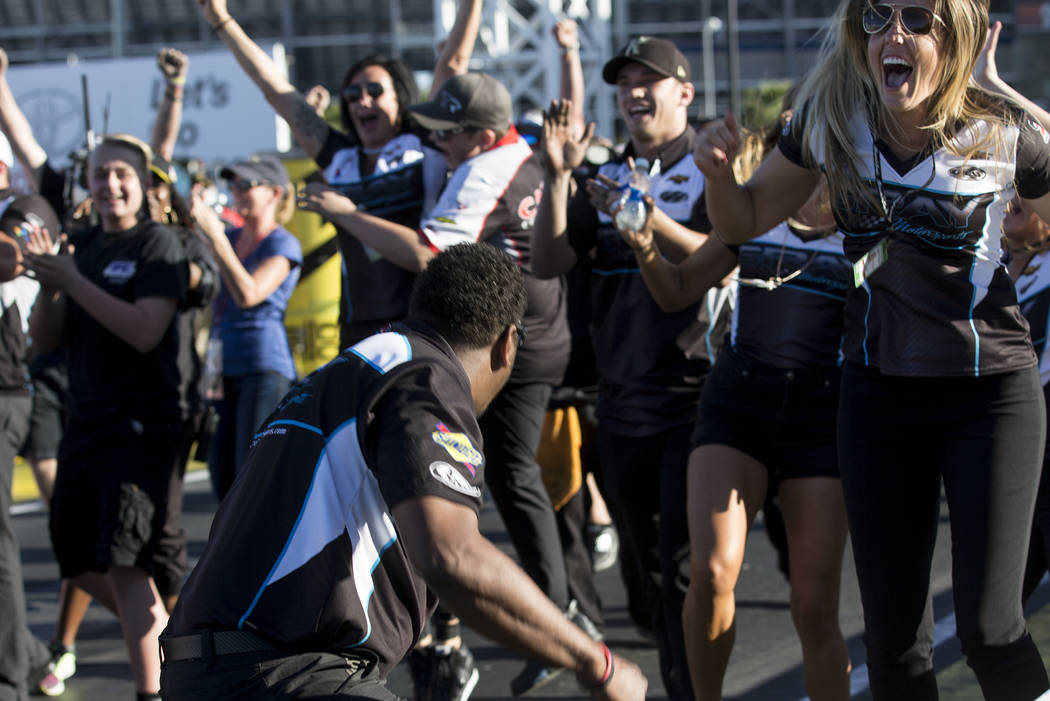 Pro Stock driver 17-year-old Tanner Gray's team celebrates his win at the DENSO Spark Plugs NHRA Nationals at The Strip at Las Vegas Motor Speedway on Sunday, April 2, 2017, in Las Vegas. (Bridget ...