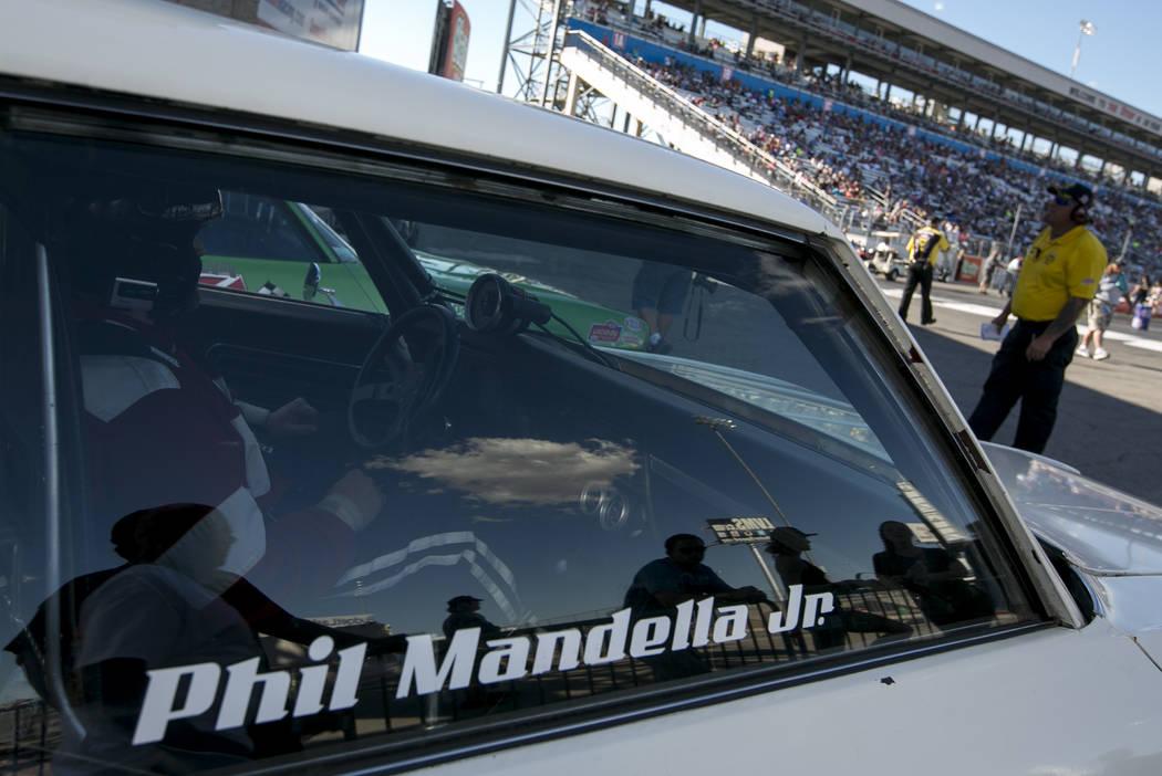 Stock Eliminator driver Phil Mandella Jr. prepares to race Chris Hall at the DENSO Spark Plugs NHRA Nationals at The Strip at Las Vegas Motor Speedway on Sunday, April 2, 2017, in Las Vegas. (Brid ...